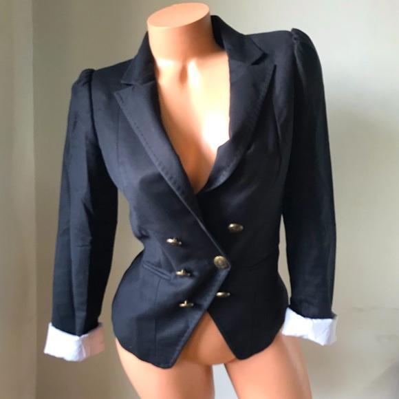 🛍H&M Navy Blue Button Front Blazer Size 6🛍